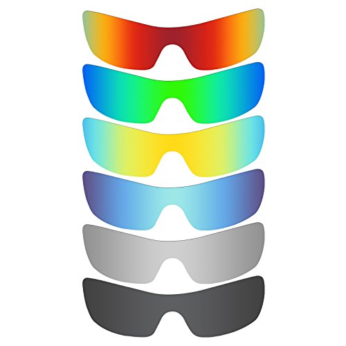 Mryok 6 Pair Polarized Replacement Lenses for Oakley Batwolf Sunglass - Stealth Black/Fire Red/Ice Blue/Silver Titanium/Emerald Green/24K Gold by Mryok