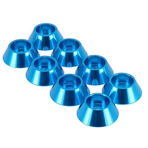 SODIAL(R) Screw Washer Gasket D10112 M4 Cup Head Machined Alloy Aluminum for RC Hobby Model Car Buggy Truck Upgraded Hop-Up Parts HSP Axial HPI Traxxas Himoto Redcat 8Pcs(Blue) 133349A1