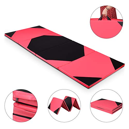 Giantex 4'x10'x2 Gymnastics Mat Thick Folding Panel For Gym Fitness with Hook & Loop Fasteners (Pink/Black)