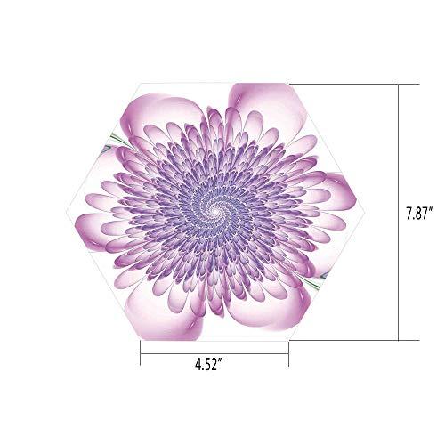 PTANGKK Hexagon Wall Sticker,Mural Decal,Spires,Digital Floral Harmonic Spirals with Flourishing Hypnotic Vision Petals Dreamy Print,Violet,for Home Decor 4.52x7.87 10 Pcs/Set