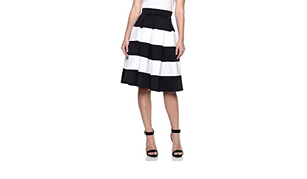 05cdbad1831 J2 LOVE Made in USA Color Block Striped Pleated Skirt (up to 5X) at Amazon  Women s Clothing store