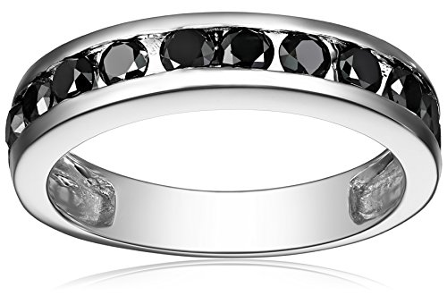 10k White Gold Channel-Set Black Diamond Ring (1 cttw), Size 7