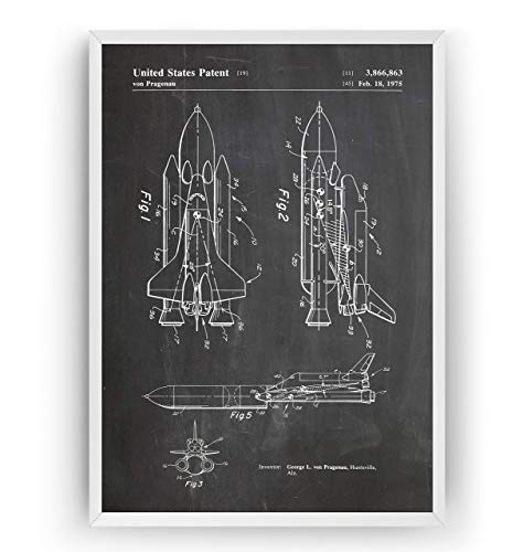 (NASA Space Shuttle Patent Print - Science Poster Outer Gift Astronaut Vintage Blueprint Outer Spaceship Aerospace Wall Art Bedroom Sci-Fi Fan Decor Merchandise Rocket Geek Nursery - Frame Not Included )