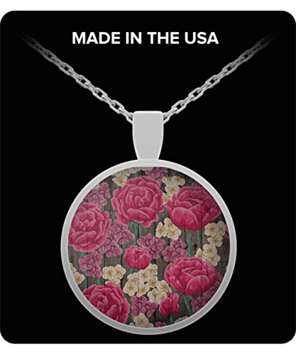 - 100 Hot Buys Necklace Painted Pink Cabbage Roses Barn Wood Printed Jewelry Vintage