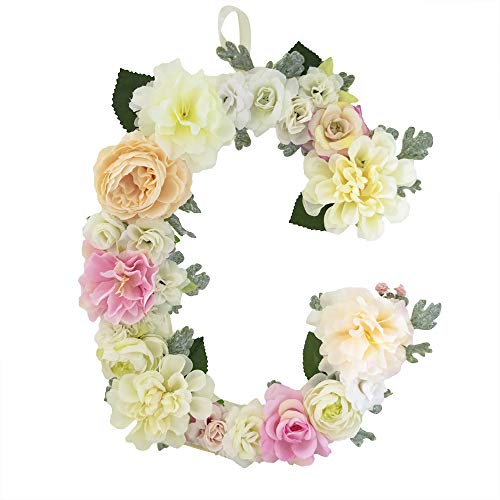 DARONGFENG RuralStyle Floral Letters, Handmade Wood Artificial Flower Letter Monogram for Wall Door Desk Top Decoration, Nursery/Baby Shower/Children Room/Wedding /Birthday Party Decor (C)