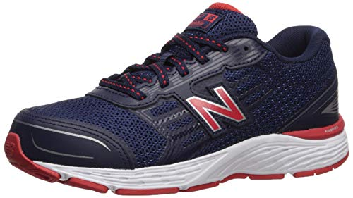 New Balance Boys' 680v5 Running Shoe, Pigment/Velocity RED, 355 XW