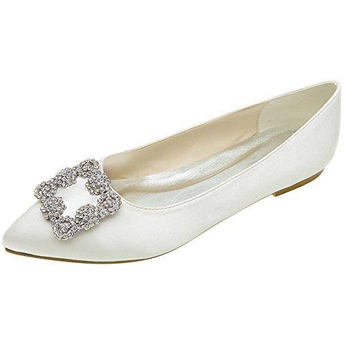 LOSLANDIFEN Womens Elegant Pionted Toe Wedding Ballet Flats Dress Shoes Ivory eG0lRMAd