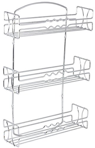 DecoBros Sturdy Steel Wire Construction Fine Chrome Finish Wall Mounted 3-Tier Spice Rack