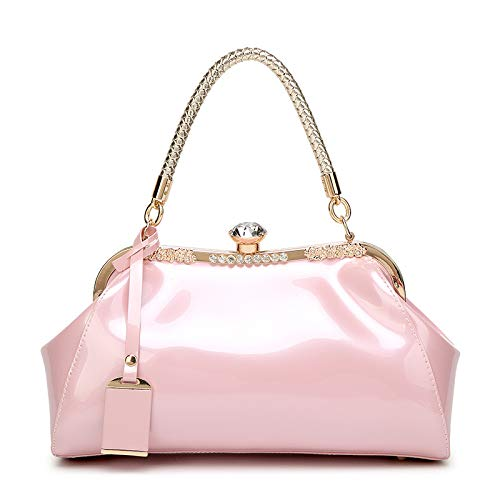 Sac Cuir Grande à Main Pink WYBXA Diamants Verni épaule Bandoulière Femmes Atmosphère Polyvalent Capacité Mode Main Sacs à Une OPZFaOq