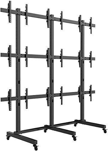Displays2go FW4255BKX9 TV Wall Stand for 9 Screens, Multi Monitor Mount, Rolling by Displays2go
