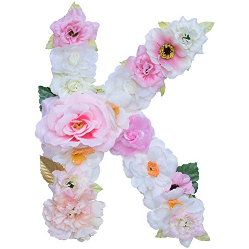 Ornaments Artificial (Artificial Ornaments Floral Letter Pink Theme,8.3x5.9x0.6in, Hang on Front Door and Wall, Home Decoration, Suit For Baby Shower, Anniversary, Birthday Party, Baby Room, Wall Ornament (1 Letter, K))