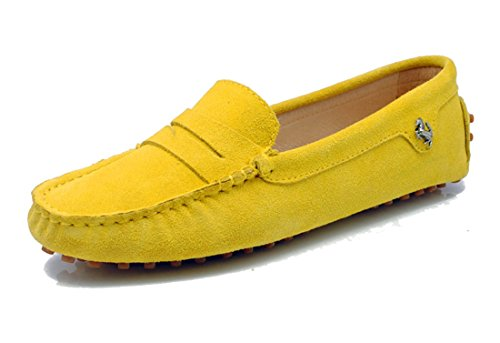 LL STUDIO Womens Casual Slip On Flats Seude/Leather Driving Walking Moccasins Loafers Boat Shoes
