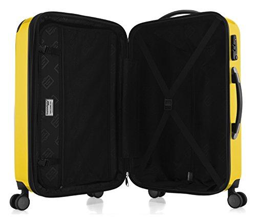 HAUPTSTADTKOFFER® 42 Liter Handgepäck (55 x 35 x 19 cm) · Hochglanz · TSA · GELB + DESIGN KOFFERANHÄNGER