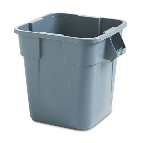 Rubbermaid Commercial Brute Container, Square, Polyethylene, 28 gal, Gray - Includes one each.
