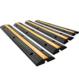 SmarketBuy Rubber Cable Protector Cable Ramps Black Ramp and Yellow lid Connector Speed Bump (4 Pack Single Channel)