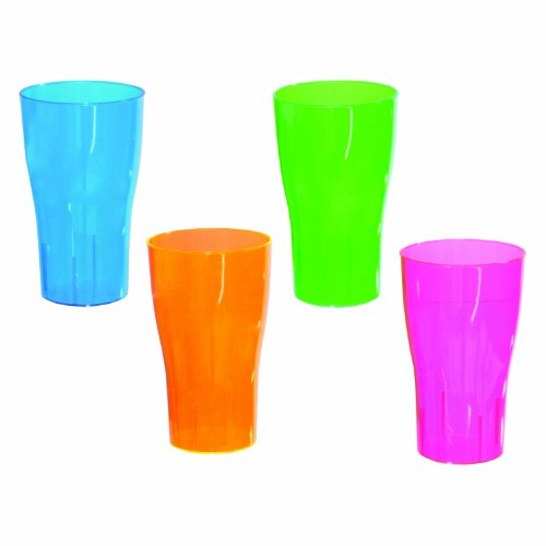 (Party Essentials N161090 Brights Plastic Pint Glass, 16-Ounce Capacity, Assorted Neon Pink/Green/Blue/Orange (Case of 120))