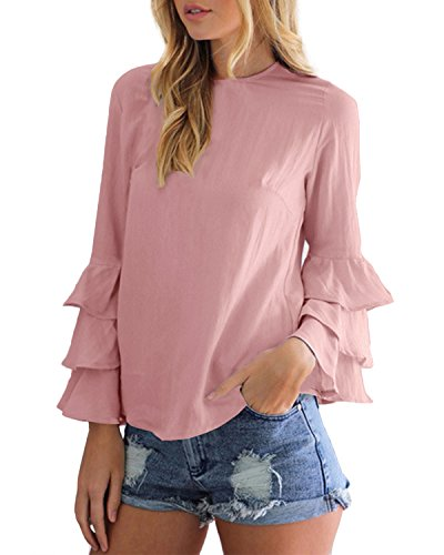 StyleDome Women's Elegant Flared Bell Ruffled Flounce Long Sleeve Blouses Casual Shirts Round Neck Tee Tops Pink US (Girls Long Sleeve Ruffled Blouse)