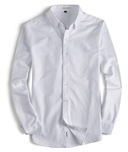 - MUSE FATH Men's Oxford Dress Shirt-Cotton Casual Long Sleeve Shirt-Interview Dress Shirt-White-XXL