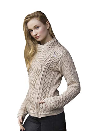 - Aran Crafts Cable Knit Stitch Side Zip Cardigan LG Parsnip (Z4630-LG-PAR)
