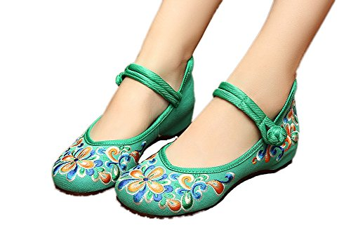 AvaCostume Women's Chinese Embroidery Casual Mary Jane Travel Walking Shoes Green 41 (Mary Costume For Women)