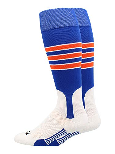 MadSportsStuff Baseball Stirrup Socks 3 Stripe (Royal/Orange/White, Medium)
