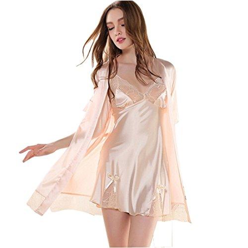 2 Piece Nightgown (Glield Women's Silk Nightgown 2 Pieces Set Lace Satin Lingerie Robe Pajama SY01 (M,)