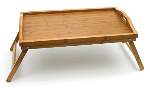 (Lipper International 8863 Bamboo Wood Bed Tray with Folding Legs, 19.75