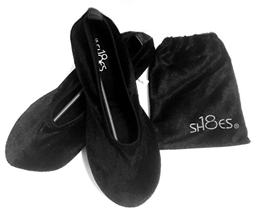 Shoes 18 Women's Foldable Portable Travel Ballet Flat Shoes w/Matching Carrying Case Black Micro 18A 9/10