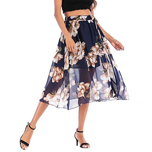 VICCKI Women's Vintage A-line Floral High Waist Printed Pleated Flared Gown Midi Skirts Black ()