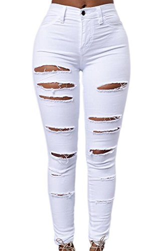 Le Irritante Donne Leggings Pantaloni Svuotare I Hot Strappato Stretto White Lungo Caviglia Solido Buco qqZH4r