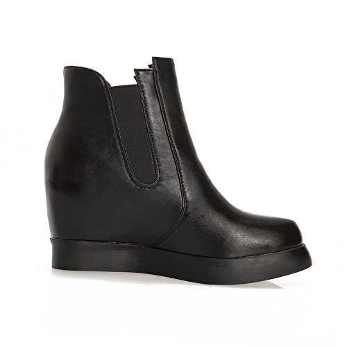 A&N Womens Heighten Inside Elastic Band Platform Imitated Leather Boots Black 3YzNqlJ