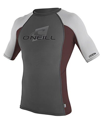 O'Neill Wetsuits Men's UV Sun Protection Skins Short Sleeve Crew Rashguard, Graphite/Myers/Lunar, Large