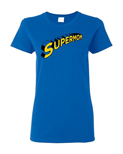 Supermom Super Hero Mom Mommy Mother Day Funny Humor Pun Adult Women's Graphic Tee T-Shirt Apparel (Royal Blue, Women's XX-Large) -