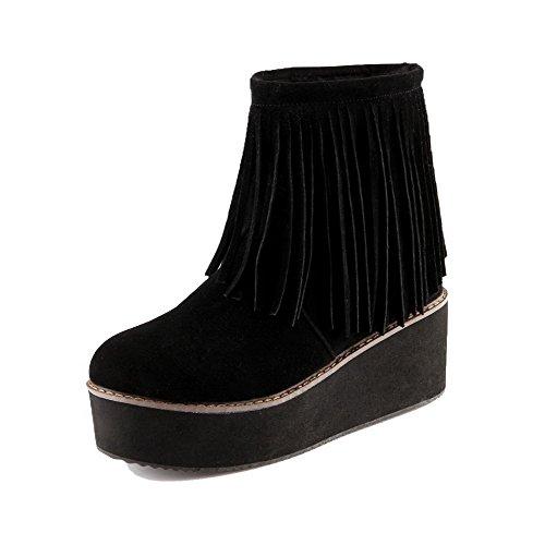 AllhqFashion Mujeres Sin cordones Tacón Alto Gamuza(Imitado) Sólido Caña Baja Botas Negro