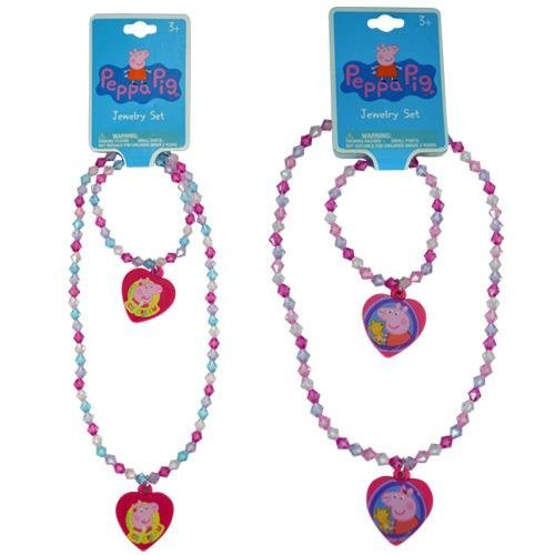 Peppa Pig Bead Heart Charm 2 Necklaces and 2 Bracelets (Ice Cream Peppa Pig with Puppy)