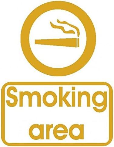 Smoking zona caña-Pegatinas Prespaziato-- 10 cm, color dorado: Amazon.es: Coche y moto