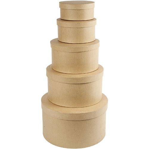 Creativ 35.5 cm Papier Mache Round Hat Boxes 5 Assorted 26466