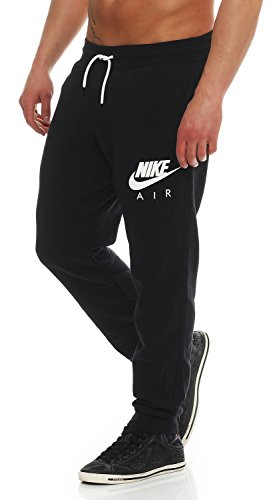 Nike Air Mens Fleece Jog Pants Slim Fit Sweatpants Fleece Black/Grey 727369 (M, Black)