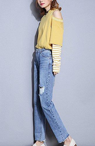 Ripped Denim Pantalon Femme Boyfriend Haute Jeans lastique Taille Jean Pants Bleu Stretch Baggy nTx6wg