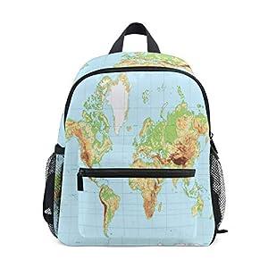 BIGJOKE Mochila para niños, Mapa del Mundo físico para niños, para Viajes, Escuela Primaria, Preescolar, guardería, para niñas y niños