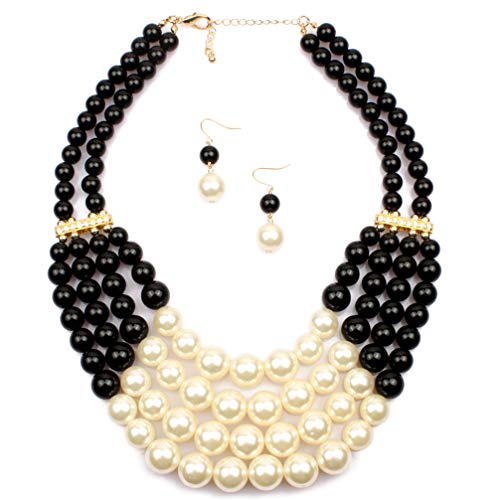 Lanue Women Fashion Jewelry Set Pearl Bead Cluster Collar Bib Choker Necklace and Earrings Suit (Black)