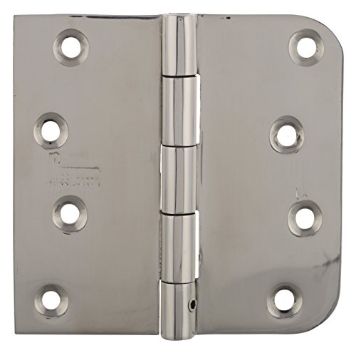 ENTRY GATE DOOR HINGES 3 PCS 4 INCH SQUARE 5/8 RADIUS MIRROR BRIGHT POLISHED FINISH 32 RESIDENTIAL DOORS WITH SECURITY PIN NRP REVERSIBLE TECHNIC WITH SELF DRILLING SCREWS by SS iSKCON