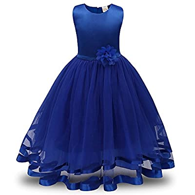 ZEFOTIM Girls Lace Bridesmaid Dress Long A Line Wedding Pageant Dresses Tulle Party Gown 3-8T