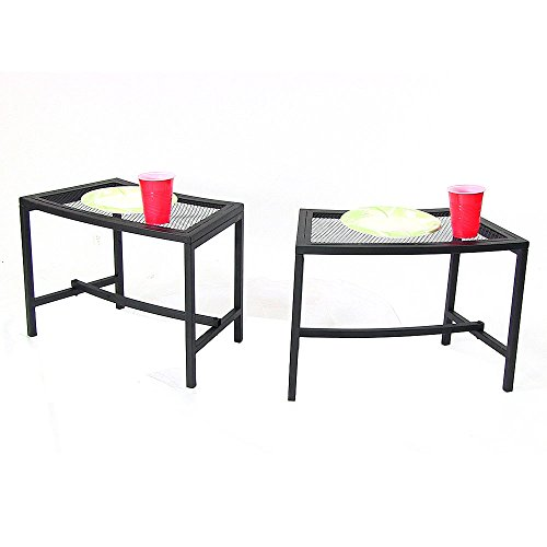 Sunnydaze Outdoor Patio Side End Table, Heavy Duty Mesh Metal, Small Porch Furniture, Black, Set of 2