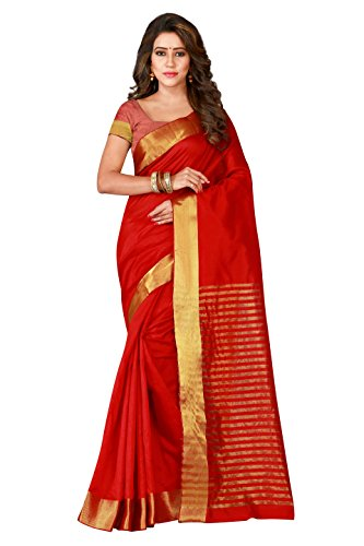 Shonaya Women`S Party Wear Cotton Silk Woven Work Saree With Unstitched Blouse Piece (Red) (Red Saree)