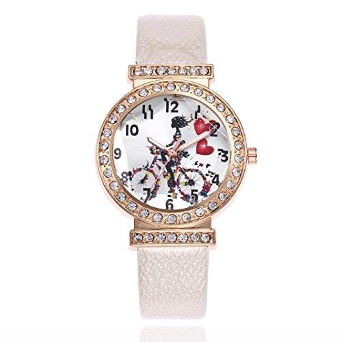 Calendar Yellow Bracelet - BCDshop Women's Fashion Watch Love Bicycle Printed Leather Band Ladies Analog Quartz Round Wrist Watches (White, NA)