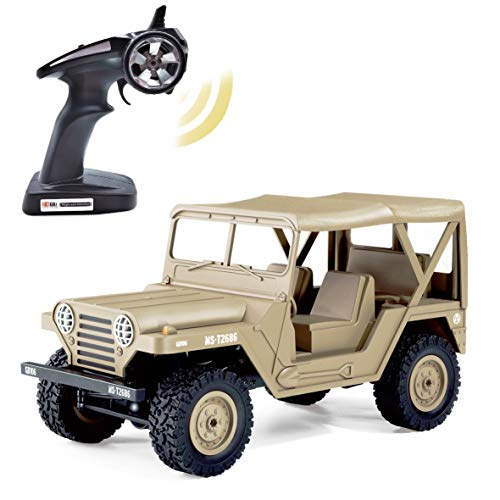 KELIWOW Military Jeep RC Car,1/14 Full Scale Proportion 4WD Off-Road Climbing Rock Truck, 2.4G Army Radio Remote Control Buggy,15KM/h High Speed Rock Crawler for Kids Adults Best Gift Choice-Khaki