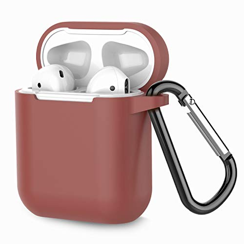 Airpods Case, Coffea AirPods Accessories Shockproof Case Cover Portable & Protective Silicone Skin Cover Case for Apple Airpods 2 &1 (Front LED Not Visible) - Brown