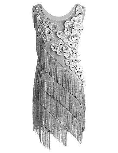 Dress Hem Fringe - Prettyguide Women 1920s Beaded Fringe Scalloped Petal Hem Origami Flapper Dress Gray M