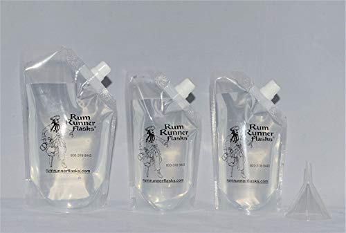 Rum Runner Original Flask Kit 1 16oz and 2 8oz Flasks Plus a Funnel and Labels